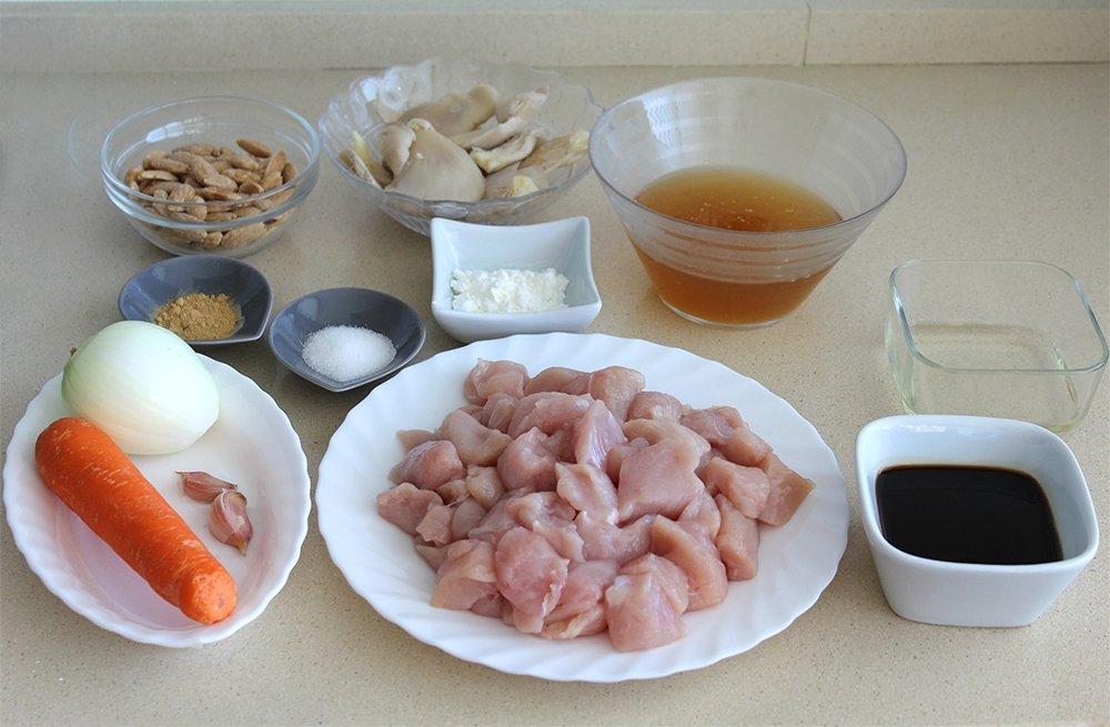 Los ingredientes del pollo con almendras estilo chino