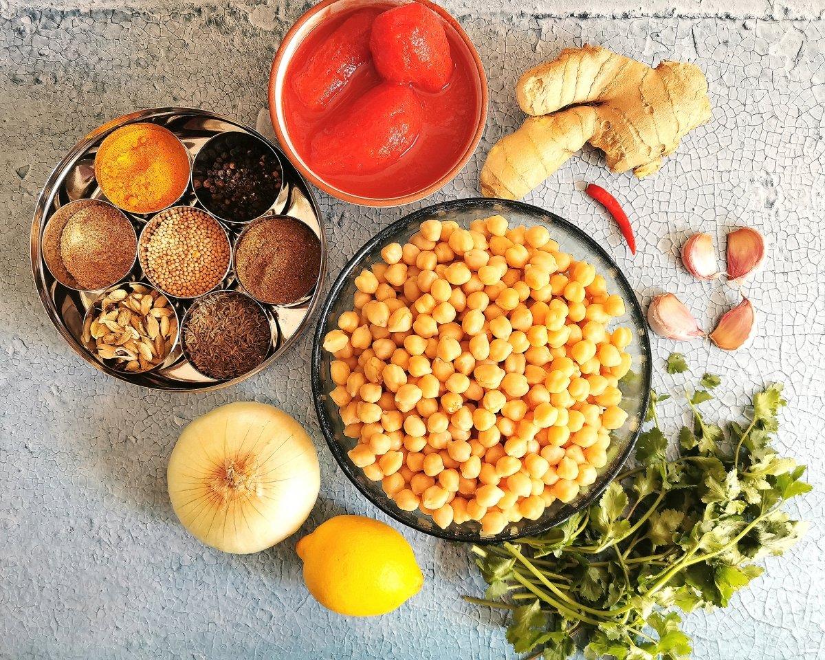 Los ingredientes para el Chana Masala