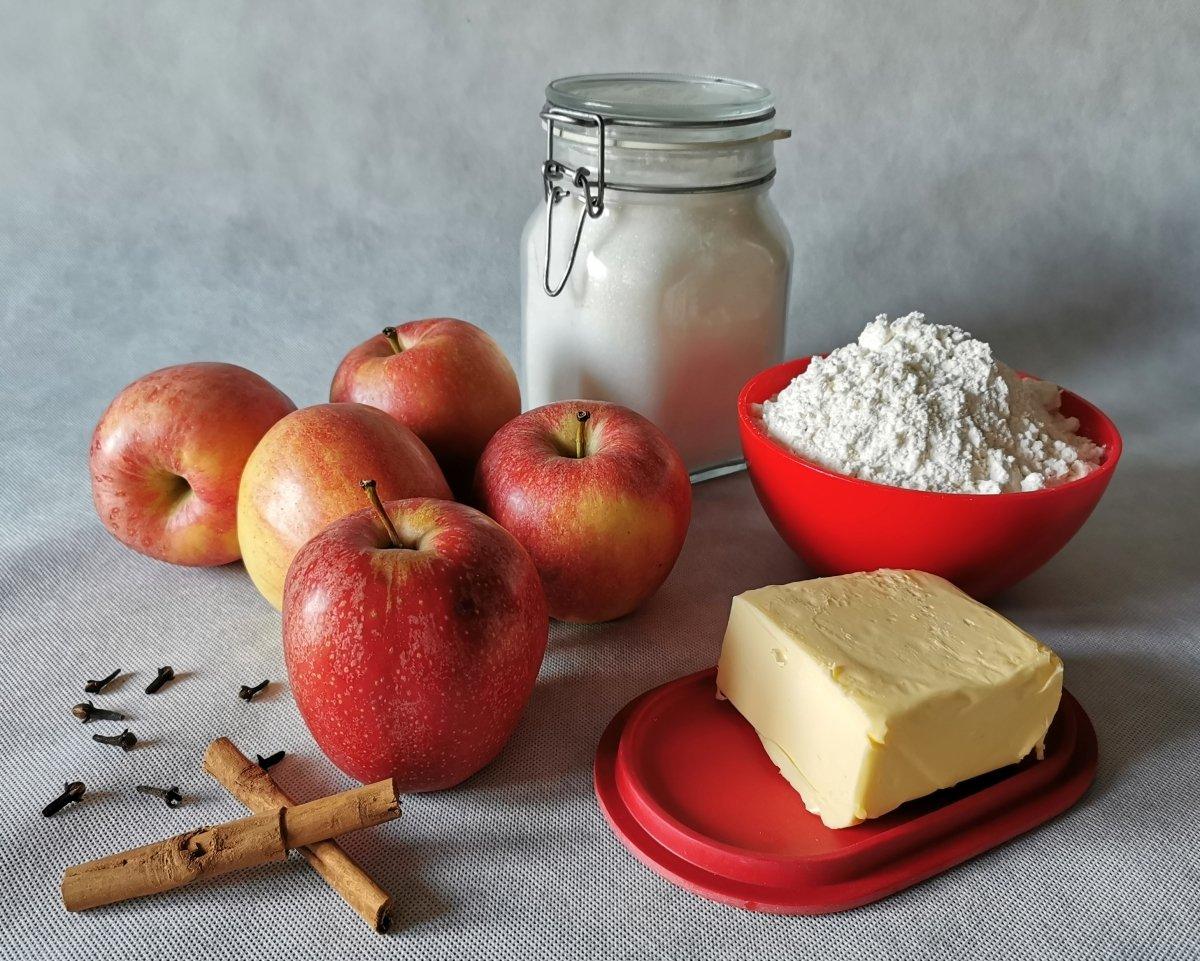 Los ingredientes para el Crumble de manzanas