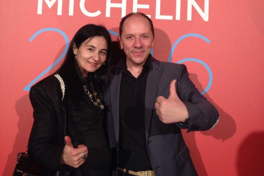María José Meda y Sebastián Roselló en un gala de la guía Michelin