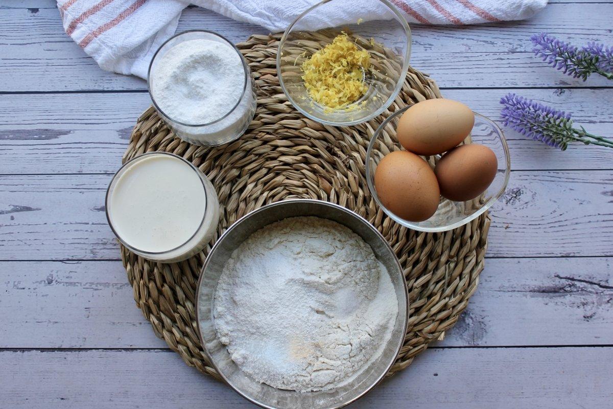 Mise en place para la realización del bizcocho de nata