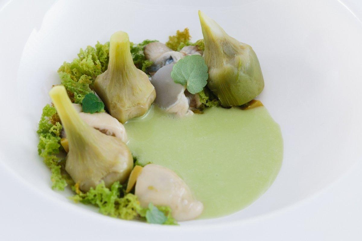 Oleomiel de alcachofas y ostras del restaurante Rodero