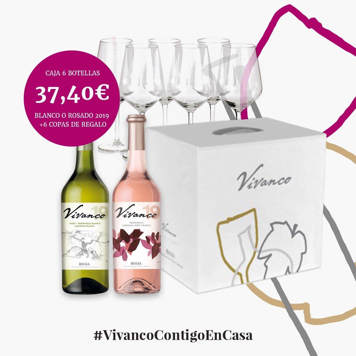 Pack de Vivanco Blanco y Rosado con copas