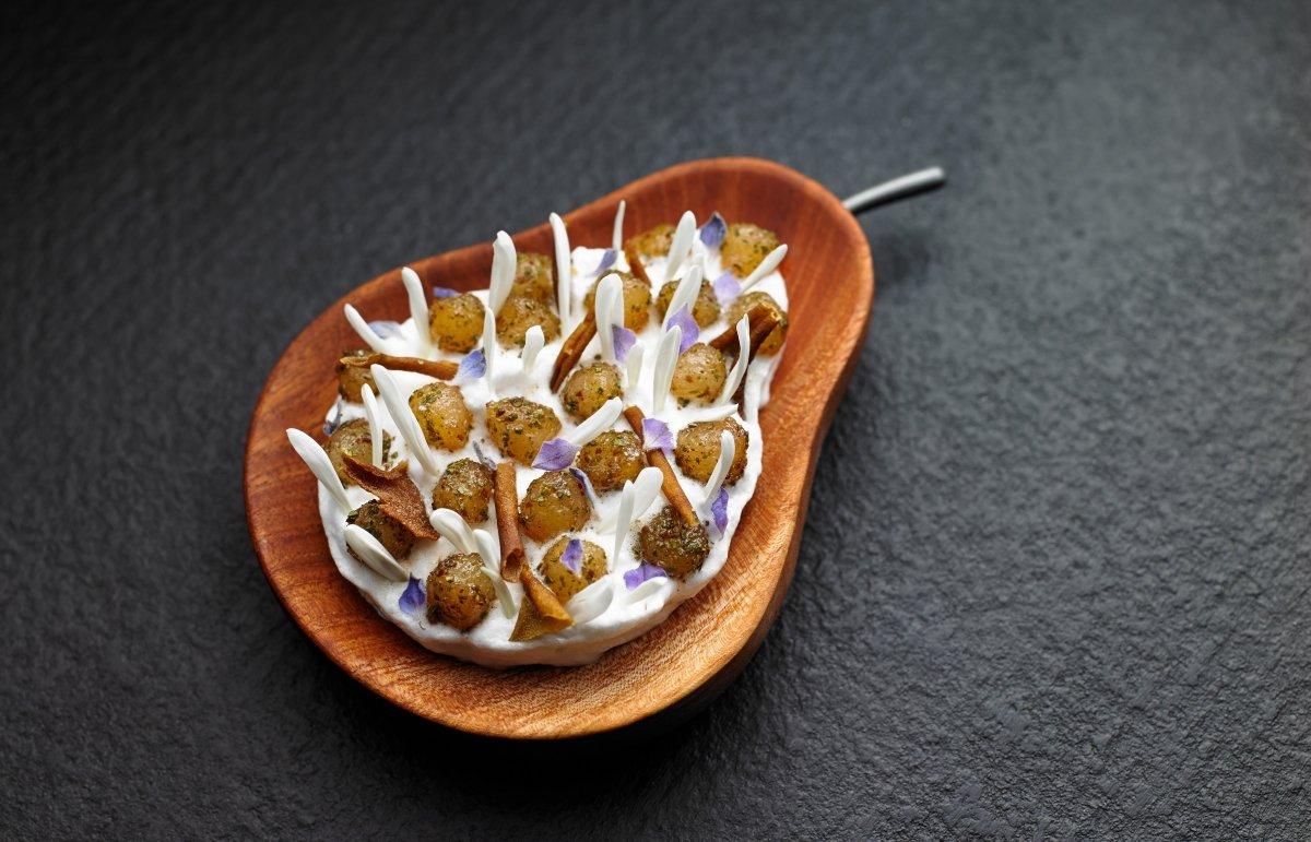 Peras y maidenii, un plato del restaurante Attica