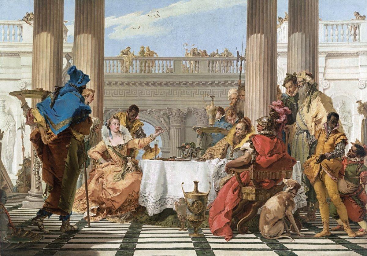 Pintura que representa la cena entre Cleopatra VII y Marco Antonio