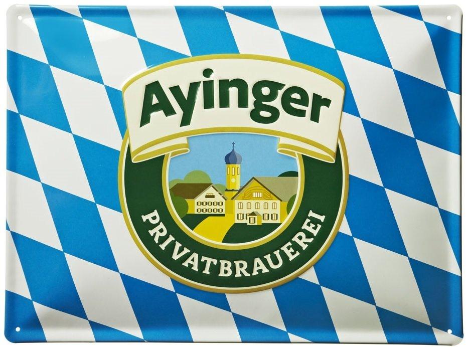 Placa con la bandera de Baviera y el logo de Ayinger