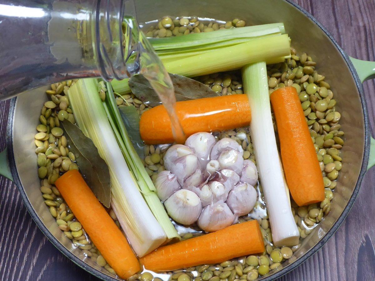 Ponemos en la cazuela las lentejas y las verduras y cubrimos con agua