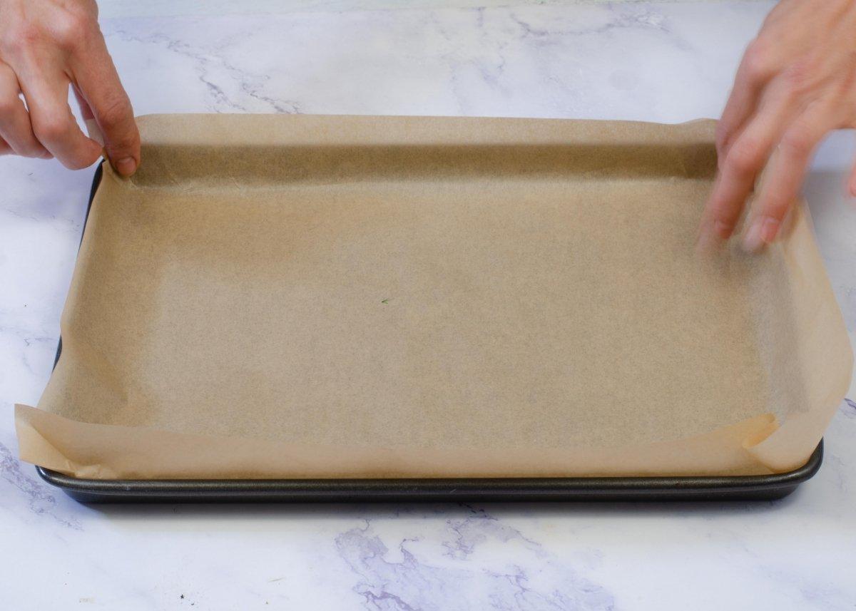Preparamos el molde para hacer brazo de gitano