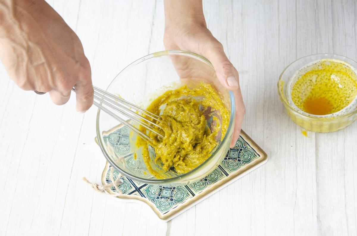 Preparando la crema de pistachos
