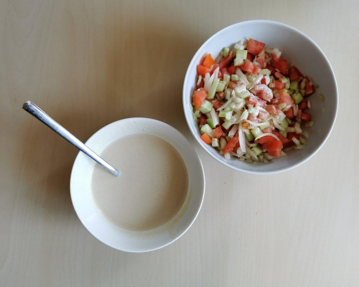 Presentación de la salsa de tahina