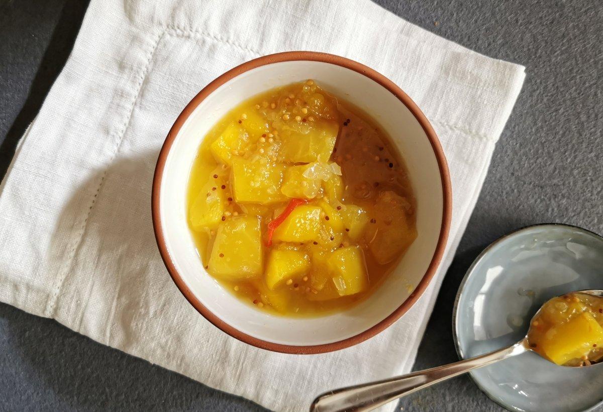 Presentación del chutney de mango