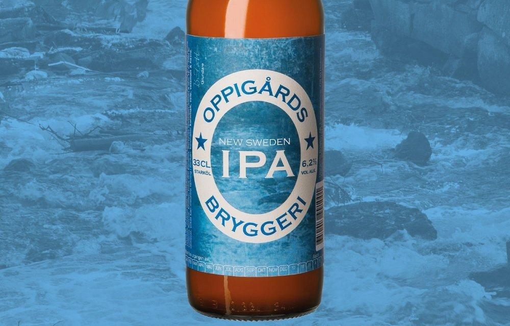 Primer plano de una botella de New Sweden IPA