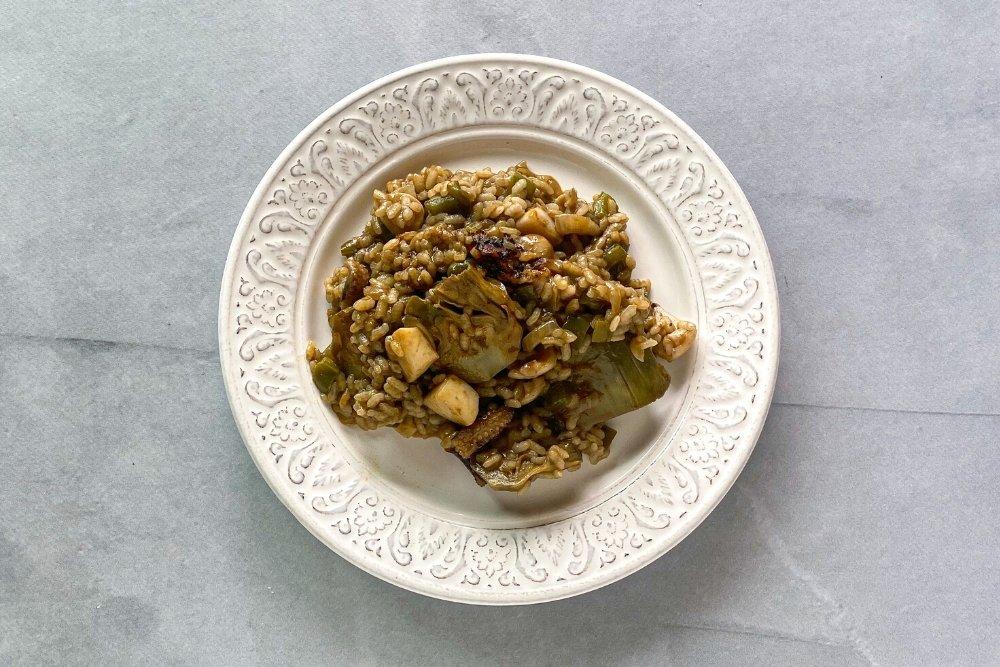 Receta de arroz con sepia y alcachofa