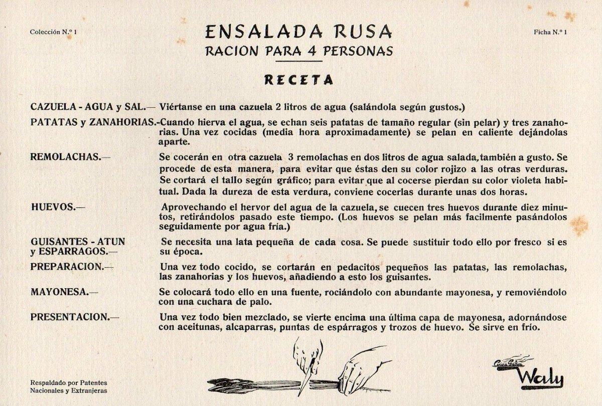 Ficha de 'Cocina Gráfica Waly', 1950s