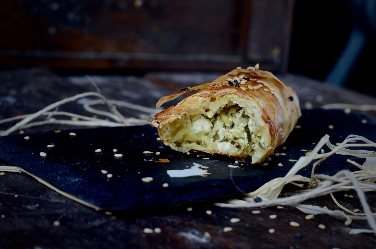 Relleno cremoso de calabacín y queso de los borek