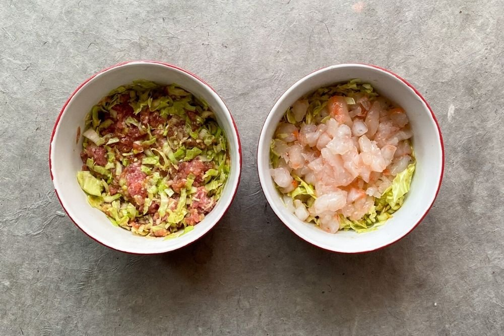 Relleno de cerdo y langostinos para gyozas tradicionales