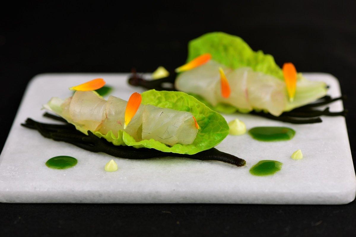 Sargo marinado con cogollo de lechuga del restaurante Culler de Pau