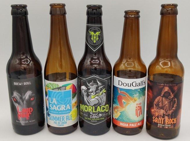 Selección de diferentes cervezas artesanales españolas