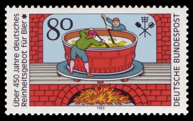 Sello que conmemora el 450 aniversario del Reinheitsgebot