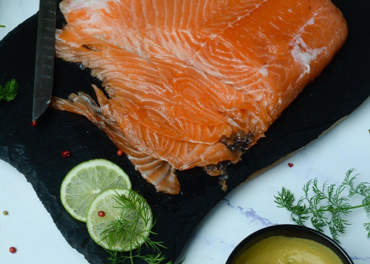 Taco de salmón ahumado