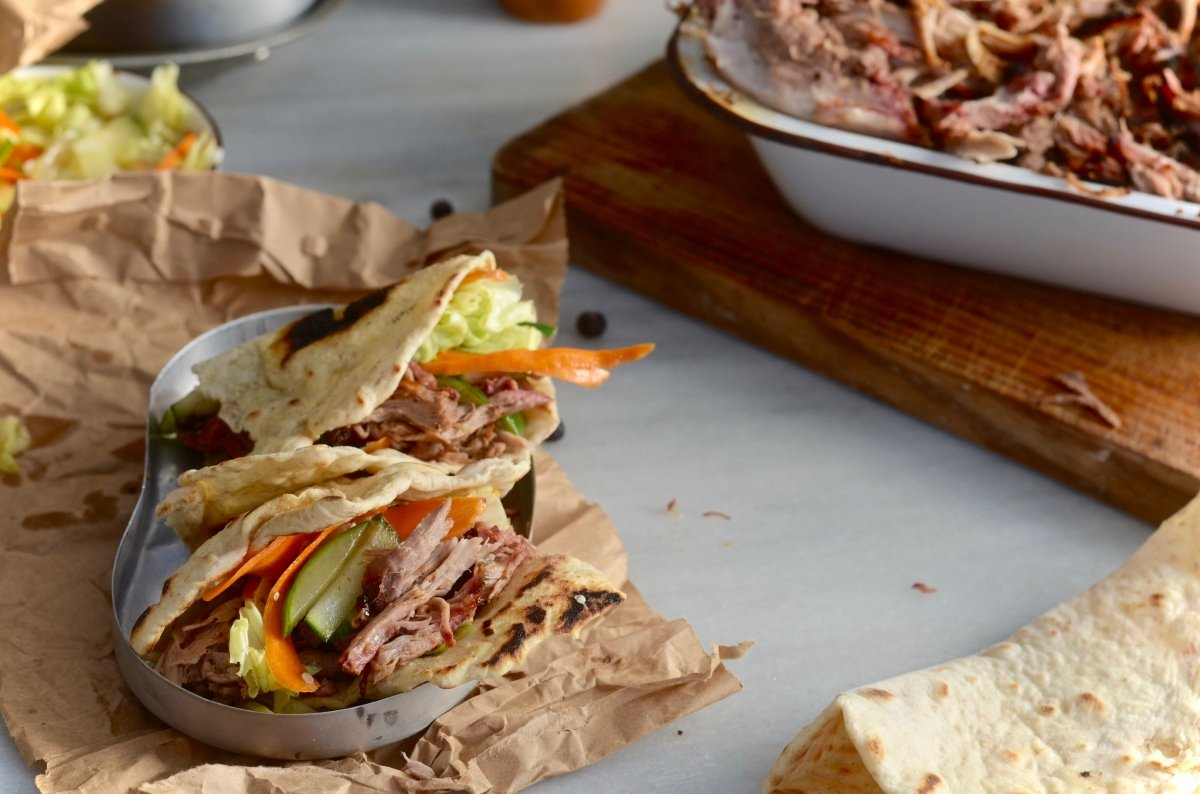 Tacos de pulled pork listos para cenar
