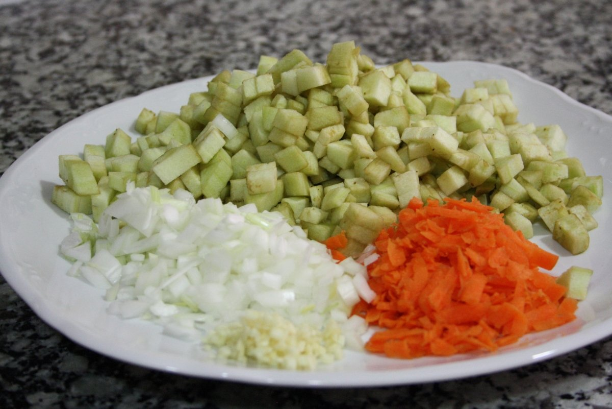 Todas las verduras troceadas