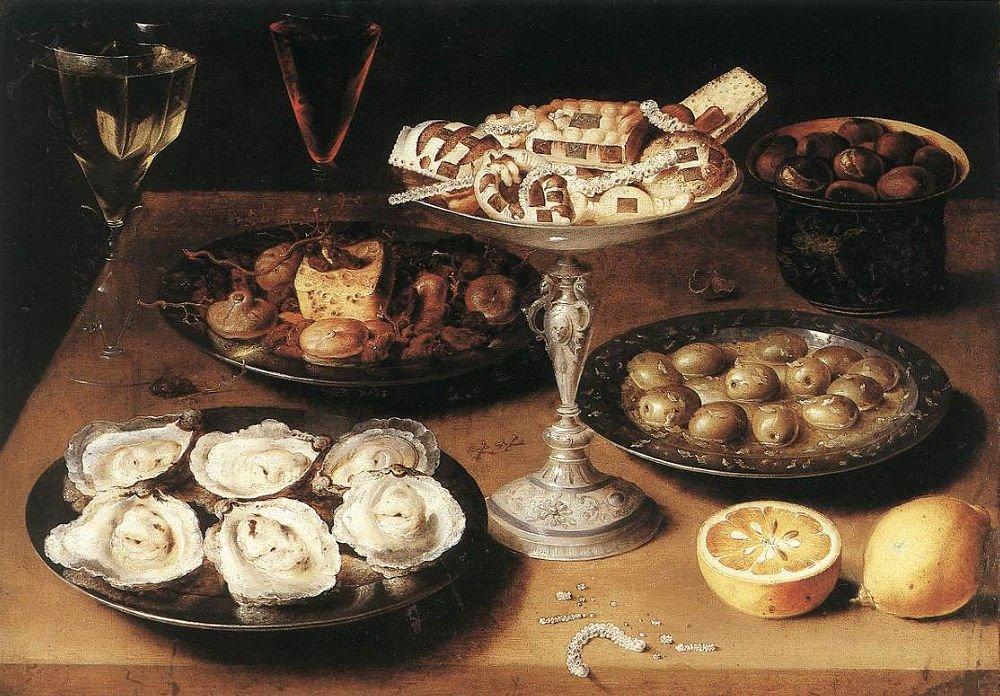 Un bodegón de un desayuno renacentista