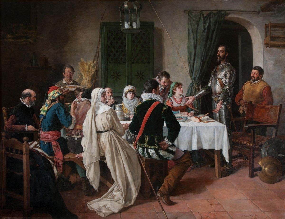 Un cuadro representando al Quijote hablando en una mesa