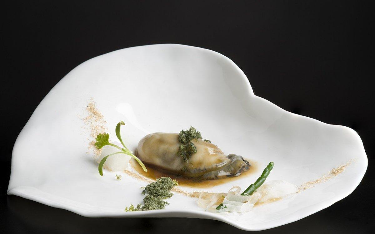 Una preparación de ostra en el restaurante Annua