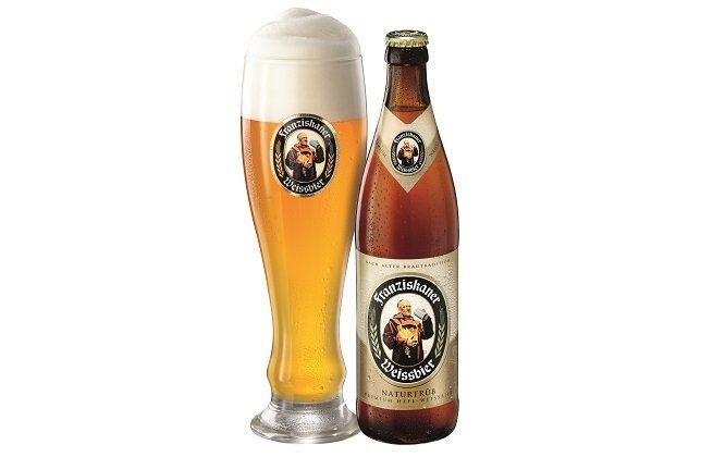 Vaso y botella de Franziskaner Hefe-Weissbier