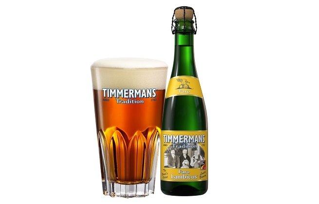 Vaso y botella de Timmermans Faro