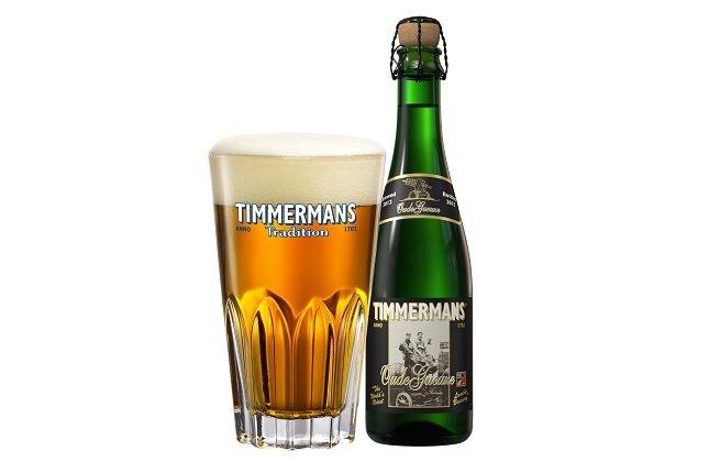 Vaso y botella de Timmermans Oude Gueuze