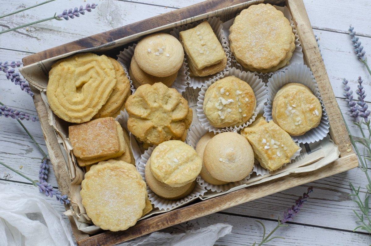 Vista cenital de las galletas de mantequilla